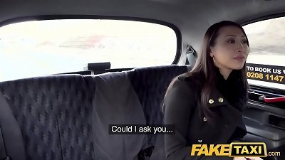 fake taxi big-chested French japanese honey tries large european boner at roadside