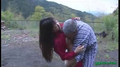 japanese lady Getting Her vagina slurped And nailed By senior fellow cum To booty Outdoor At