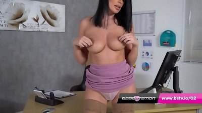 UK pornographic star Emma Green scorching assistant striptease