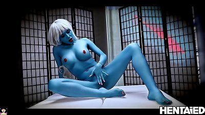 ALIEN porn | fantastic blond with blue skin | Subyl bend