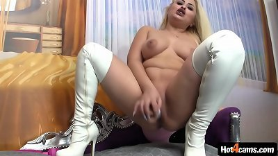 naughty blonde pumps out all over cootchie and donk and fucks a fat faux-cock lollipop | chat NOW: blondikva.hot4cams.com