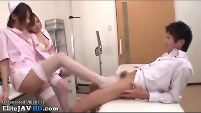 japanese beautiful nurses in tights plumb their patient