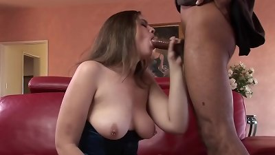 Marley dreamed to take a ebony man sausage in her pussy and put it in her throat